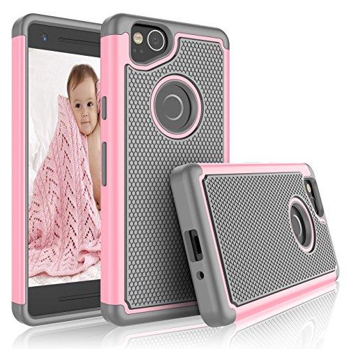 Eutekcoo Schutzhülle für Pixel 2 (Tmajor Serie), doppellagig, stoßfest rosa Baby Pink/Grey Baby Pink Hard Gummi