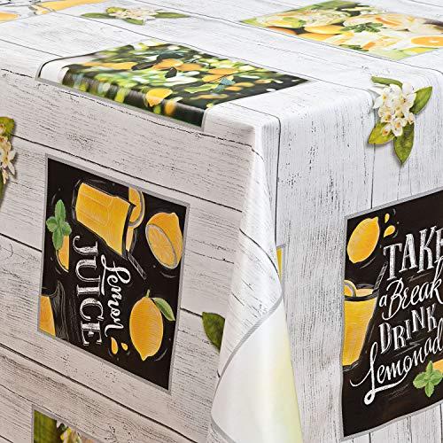 laro Wachstuch-Tischdecke Abwaschbar Garten-Tischdecke Wachstischdecke PVC Plastik-Tischdecken Eckig Meterware Wasserabweisend Abwischbar GAI, Größe:118x180 cm, Muster:Zitrone Zitronenbaum gelb
