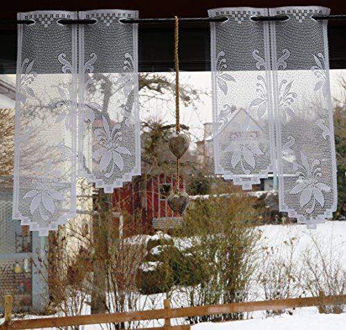 Fashion&Joy Meterware - Scheibengardine nach Maß / Höhe 30 cm Treppenform / Breite der Gardine durch Eingabe der Stückzahl in 28 cm Schritten wählbar - Panneaux aus edlem Jacquard mit Ornament Blumen in weiß - Ökotex Typ400