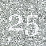 Servietten 25 Silberhochzeit mit Prägung 20 Stück, 3-lagig 33x33cm