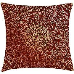"""Proud Clothing - Funda de cojín, diseño de mandala oriental con texto en inglés """"Maroon Throw"""", ornamento redondo marroquí, étnico, cuadrado decorativo, 45,7 x 45,7 cm, color dorado"""