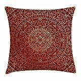 DIYCCY Überwurf-Kissen, Kissenhülle, Antique Arabische Kunst Orientalischer Marokkanischer Runde Mandala, Dekoration, Deko, Quadratisch, Kissenbezug 18x 18cm