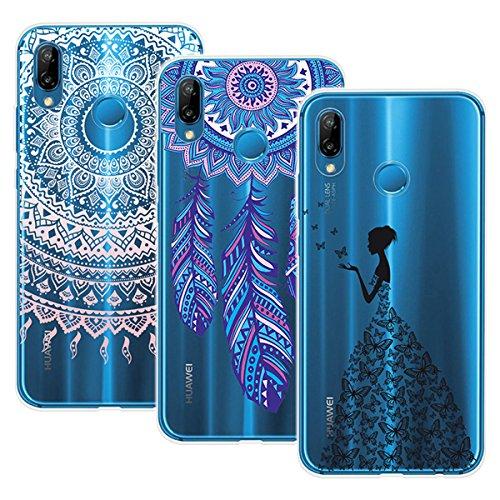 Yokata 3 Packs Huawei P20 Lite Hülle Transparent Handytasche TPU Silicone Bumper Ultra Dünn Slim Durchsichtig Premium Kratzfest Motiv Handyhülle - Mandala Windmühle Mädchen und Schmetterling