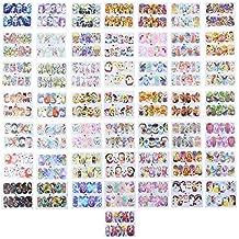 Domybestshop 50 Pcs Pegatinas de Uñas Diseño de la Mezcla de la Belleza Impermeable, Decoración de la etiqueta manicura