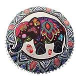 MOIKA Taies d'oreiller Elephant Motif Coussin Mandala ronde Oreillers sol indien méditation Couverture Bohême Achat Oreiller Linge de La Maison 43x43(B)