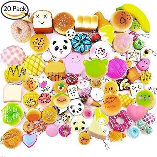 mini kawaii miniaturas kawaii 20 PCS kawaii mini blando suave y blanda simulación de alimentos panda pan Pastel bollos colgantes Llaveros Llavero teléfono correas de cadena adornos accesorios estilo aleatorio