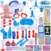 TEMI 40pcs Doctor Medical Kit, Pretend Play Set w/ Doll n Carrying Case, Light Up Electronic Stethoscope Dentist Nurse Toys Educational Learning Role Play Gifts for Kids, Toddlers, Boys & Girls (BLUE)