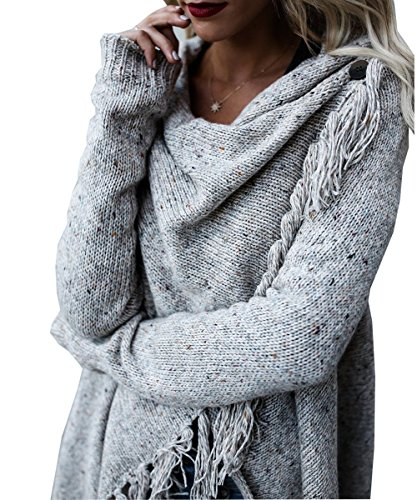 Damen Langarm Strickjacke Quasten Asymmetrisch Poncho Pullover Sweater Cardigan Mantel Outwear JOYORUN Hellgrau