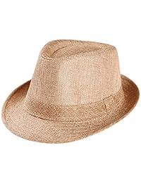 ea66f67e05b Tomatoa Unisex Kids Straw Trilby Fedora Cap Felt Fedora Hat Short Brim  Sunhat Sunscreen Sun Hats