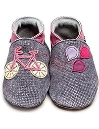 Inch Blue–Zapatos de niñas niños cochecito de funda de piel suave suela bicicleta Denim/Rosa Rosa