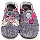 Inch Blue–Scarpe da passeggino per neonati (femminucce), in pelle di lusso e suola, tessuto di jeans, con bici, colore rosa, Grigio (