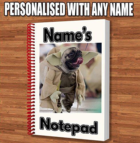 Star Wars Yoda Mops Personalisiertes Geschenk–A5Notizblock/Notebook–Name Gedruckt Auf den Bezug (Mops-boxer Für Männer)