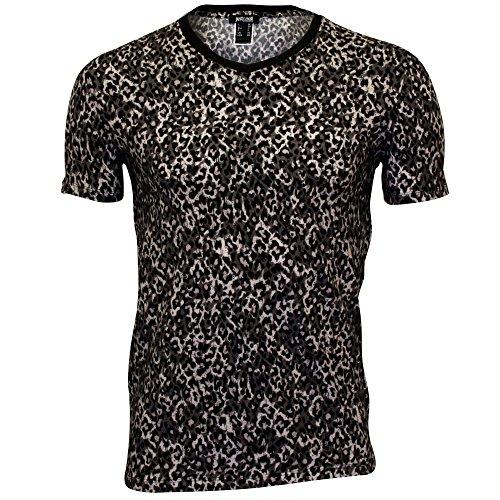 Just Cavalli Animal (Just Cavalli Allover Leopardenfell Drucken V-Ausschnitt Herren T-shirt, Schwarz Medium)