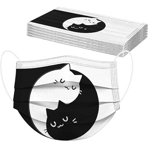 WTVIVA Velo Facciale A Due Colori Con Stampa A Gatti, Monouso Per Adulti, 10/20/30/50/100 Pezzi, Orecchie Elastiche, Clip Regolabile Per Il Naso