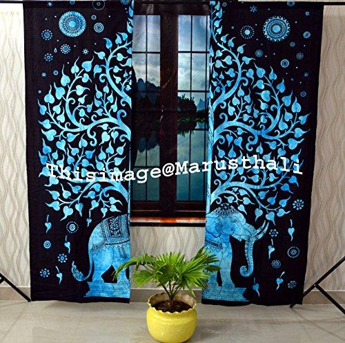 Cortina de elefante con diseño de árbol de la vida, hippie bohemio, hecha a mano, incluye 2 cortinas de mandala, 2 tapices, cortinas y valores, cortina de tratamiento para ventanas vintage