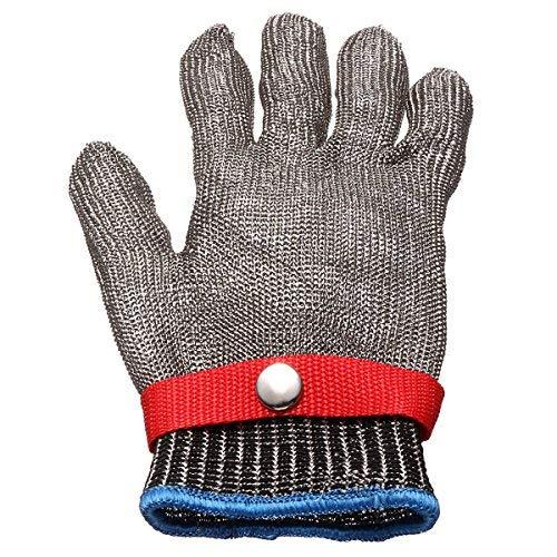KUNSE Sicherheit Schnitt Proof Stab Beständiger Edelstahl Metall Masche Metzger Handschuh Größe M -