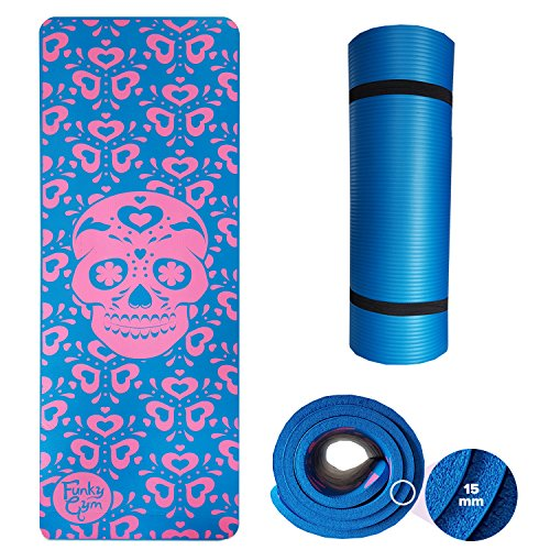 funkygym Extra Dick, rutschfeste gemustert 15 mm/Yogamatte mit Tragegurt - erhältlich in Einhorn...