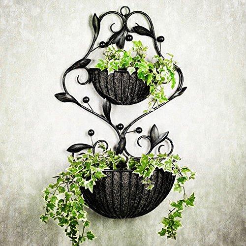 Momo fioriere in ferro fioriera in legno da appendere a parete fioriere in stile europeo giardino in stile europeo con doppio fiore cesto porta fiori,nero