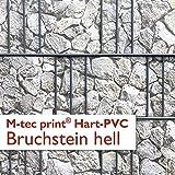 M-Tec Print Hart-PVC   Formstabile Sichtschutzstreifen mit Motiv - Bruchstein Hell ✔ für 3 Reihen im Zaunfeld ✔ M-Tec Marktneuheit 2018 ✔ - Sie KAUFEN Hier Direkt Beim Hersteller –
