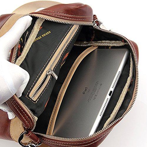 L2W West Schafsfell Umhängetasche mit Herren-Leder-Kreuz-Körper-Rucksack / Travel Messenger Tasche für Kindle Ipad Tablet (2016) Black