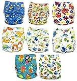Keyloo - Pack couches lavables de qualité supérieure - 8x couches réutilisables - couches écologiques - avec insert en bambou - couches unisexe - taille unique ajustable - nouveau né à 3 ans...