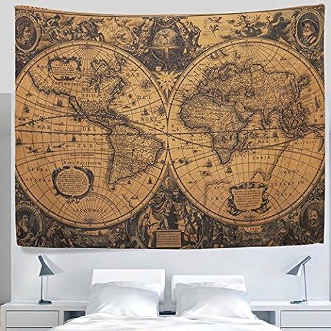 Alaza antique à l'ancienne rétro carte du monde vintage Tapisserie