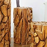 Möbel Bressmer Dekosäule Pflanzenständer Teak XILON 40 cm Podest Säule aus Teakholz Unikat
