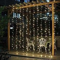 SALCAR LED Luz Cadena Cortina 3m * 3m IP44Resistente al Agua Estrellas LED Cortina de Luces para Navidad Decoración Fiesta Fijo, Interior, 8programas de Cambio de luz (Blanco Cálido)
