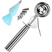 Ice Cream Scoop Stainless Steel Cookie Scoops with Trigger Release, Cookie Dough Metal Cupcake Scoop Balls for Meatball…