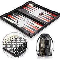 Peradix Scacchi Dama e Backgammon Magnetici 3 in 1 Scacchiera Pieghevole con Sacchi e Rete Portabile (30.5*30.5cm 3-in-1)