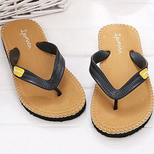 sandales,LHWY Hommes sandales d'été pantoufles mâle intérieur ou extérieur tongs chaussures Jaune