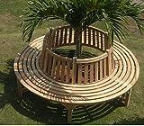 Trendy-Home24 komplette volle Baumbank aus Teakholz Massivholz Holzbank, Gartenbank ca. 220 cm breit unbehandeltes Teakholz Kreis Rundbank