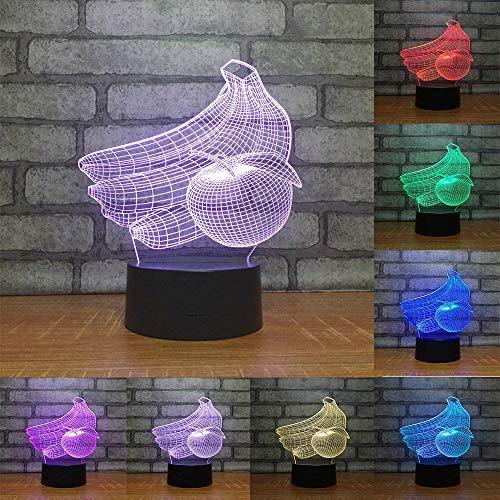 3D Illusion Lampe Obst LED Nachtlicht, USB-Stromversorgung 7 Farben Blinken Berührungsschalter Schlafzimmer Schreibtischlampe für Kinder Weihnachts geschenk - C6 Mit Blauem Led-licht