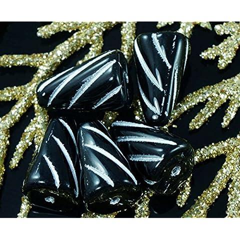 Negro opaco de Plata de Cristal checo Carámbano de Perlas Largo de Lágrima Granos de la Espiga de Cono de 15 mm x 10 mm