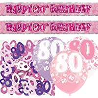 Unique BPWFA-4182 Glitz 80th Birthday Foil Banner Party Decoration Kit, Pink