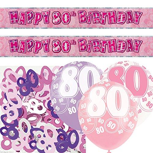 Unique Einzigartige bpwfa-4182Glitz 80. Geburtstag Folie Banner Party Deko-Set, pink