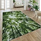 Paco Home Moderner Kurzflor Teppich Greenery Natur Look Wald Optik Grün Weiß, Grösse:160x230 cm