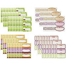 COM-FOUR® 120x Etiquetas para vasos y botellas en 4 decoraciones diferentes (120