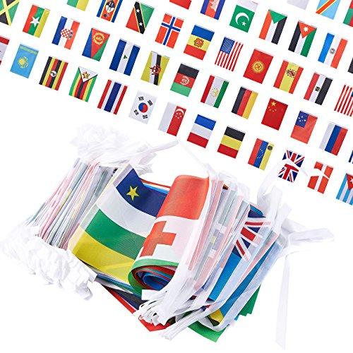 Juvale 250Stück Land Flaggen -, International Flaggen der Welt, Party Dekorationen, 150Verschiedenen Ländern, Verschiedene Farben, 200Fuß Länge, jeder Flagge 13,2x 21,6cm -