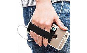 Sinjimoru Phone Grip con Tarjetero para teléfono, Stick on Phone Wallet con Phone Finger Gripper Almacenamiento de Tarjetas de crédito. Sinji Pouch Band, Bolsillo y Correa Color Negro.
