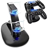 PS4 Controller Base di Ricarica Doppi,AMANKA Dual USB Controller Caricatore Docking Station Stand con LED per Playstation 4 P