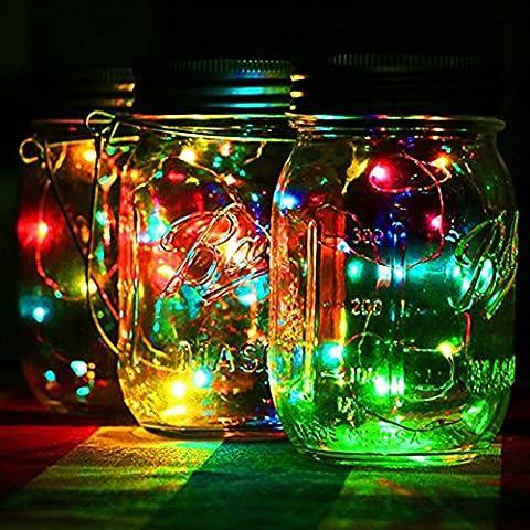 3 Pack Solar Mason Jar String Lights, Mason Jar Solar 10 String Fairy Star Lights Screw on Silver Lids, Best for Mason Jar Decor,Garden Path Lights(Color Warm White White )