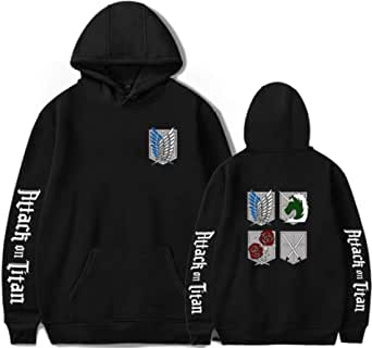 PANOZON Mens Attack on Titan Hoodies Scouting Legion Logo Text Printed Solid Color Pullover