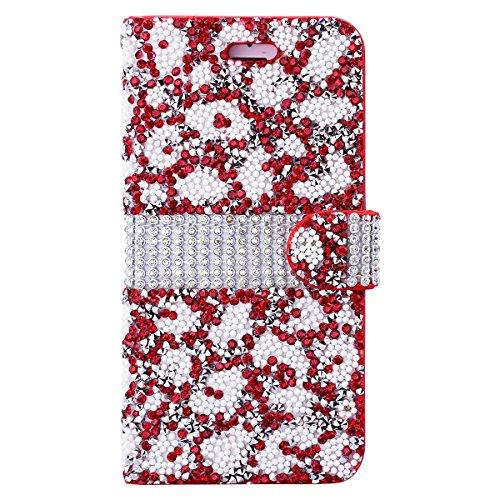 iPhone 6 Plus / iPhone 6S Plus Hülle, Yokata Flip Luxury PU Leder Luxus Lederhülle Case Bling Glizter Design Diamant Backcover Cover Bookstyle mit Standfunktion und Magnetverschluß Tasche Schutzhülle  Rot