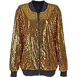 SEXY Paillette VERZIERTE Bomber Jacke Festival Clubbing Party Disco 70S Jacke Coat FUNKELN Sparkle Shiny Lange HÜLSE Damen TOP (Gold Sequin Bomber, XL 44-46)