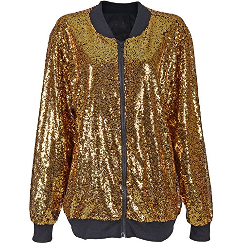 ERTE Bomber Jacke Festival Clubbing Party Disco 70S Jacke Coat FUNKELN Sparkle Shiny Lange HÜLSE Damen TOP (Gold Sequin Bomber, XL 44-46) ()
