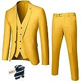YND Men's Slim Fit 3 Piece Suit, One Button Solid Jacket Vest Pants Set with Tie