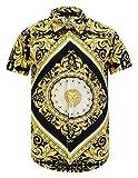 Pizoff Herren kurz Ärmeln Hip-Hop golden Hemden mit floral Blumen Luxus Palace Muster