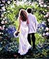 [ New Release ] Diy Oil Painting by Numbers, Paint by Number Kits - Hand in Hand Walk Whole Lifetime 16*20 inches - Digital Oil Painting Canvas Wall Art Artwork Landscape Paintings for Home Living Room Office Christmas Decor Decorations Gifts - Diy Paint