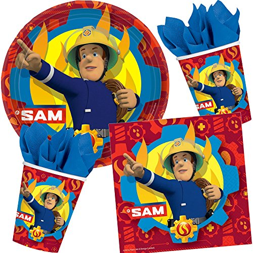 Décoration de fête * * avec pompier Sam Assiettes + Mug + Serviettes + Set de 37pièces/fête/anniversaire d'enfant enfants Fête d'anniversaire Thème Devise Pompiers LA Télévision Cinéma